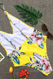 One Piece Tropical High Leg Low Back Peplum Ruffle Swimsuit SO329