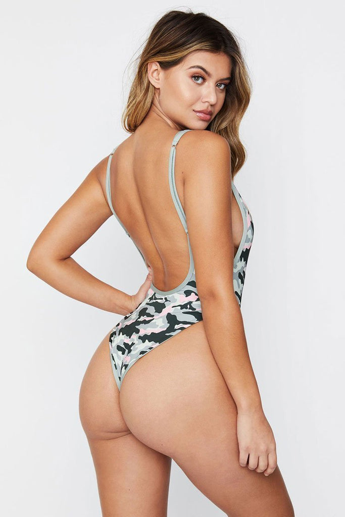 One Piece High Leg Low Back Camo Swimsuit SO231
