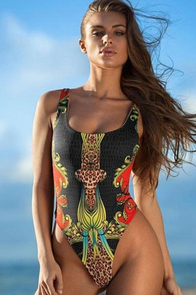 One Piece Tribal Printed High Leg Brazilian Swimsuit SO228