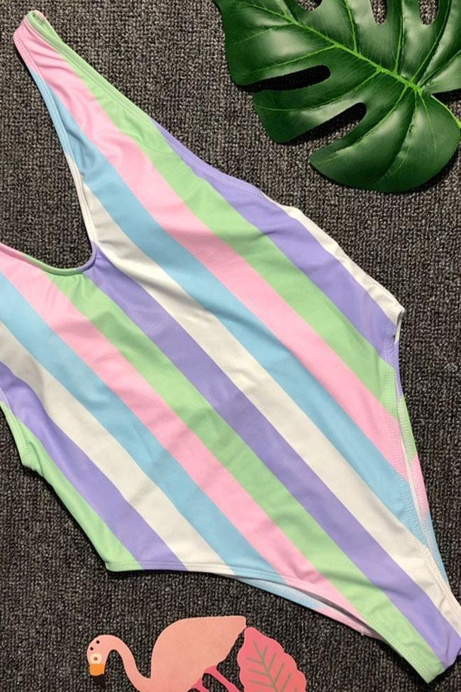 One Piece Rainbow Striped Low Back High Leg Deep V Swimsuit SO370