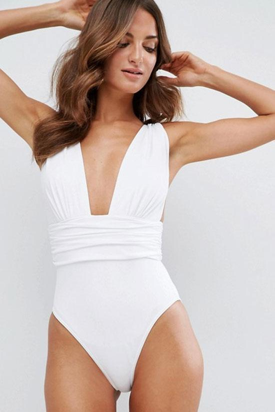 One Piece High Leg Low Back Deep V Neck Swimsuit SO079