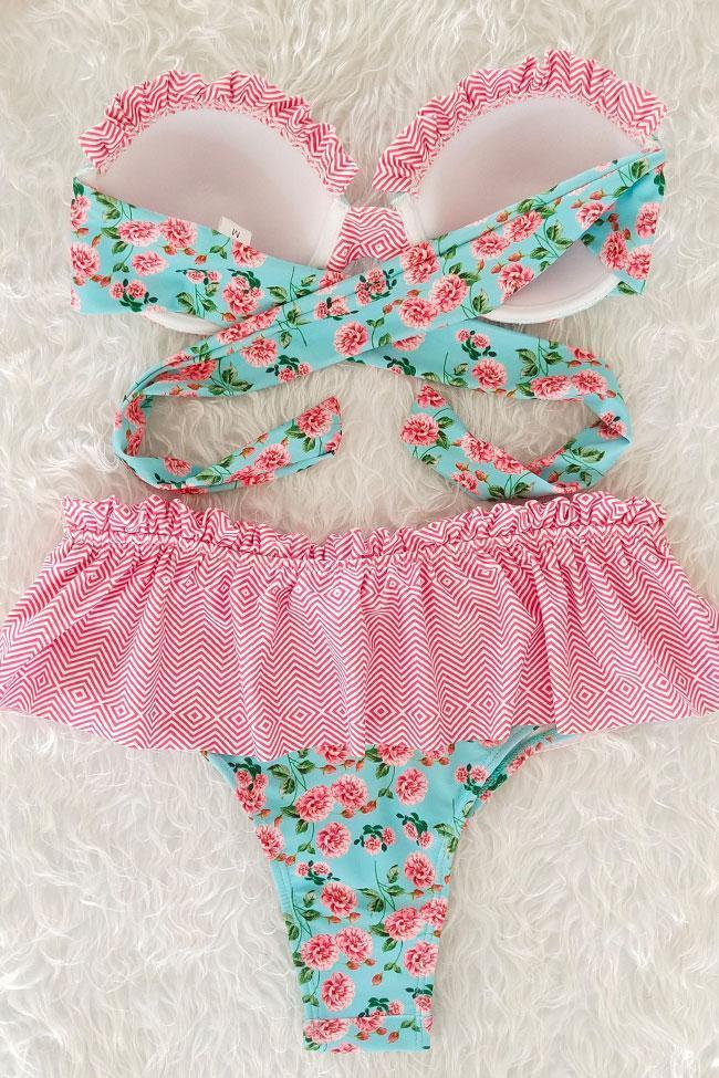 Pink Floral High Waist Ruffle Push Up Bandeau Bikini Swimsuit SK0329