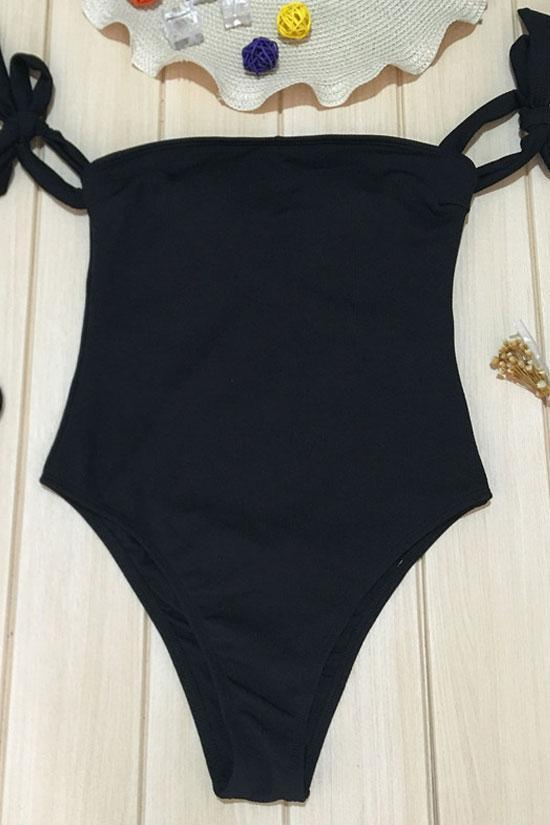 One Piece Ribbed High Leg Tie Straps Off Shoulder Bandeau Swimsuit SO211