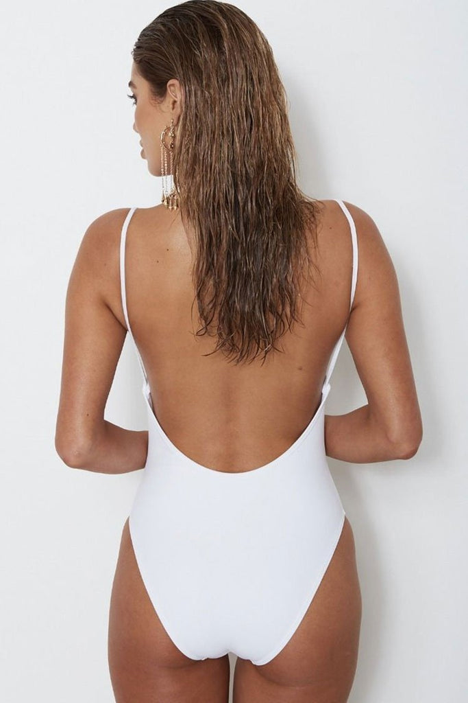 One Piece High Leg Low Back Zipper Deep V Neck Swimsuit SO078