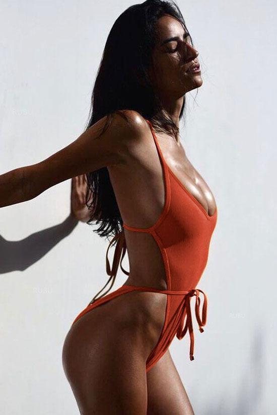 One Piece Sexy High Leg Low Back Strappy Monokini Swimsuit SO038
