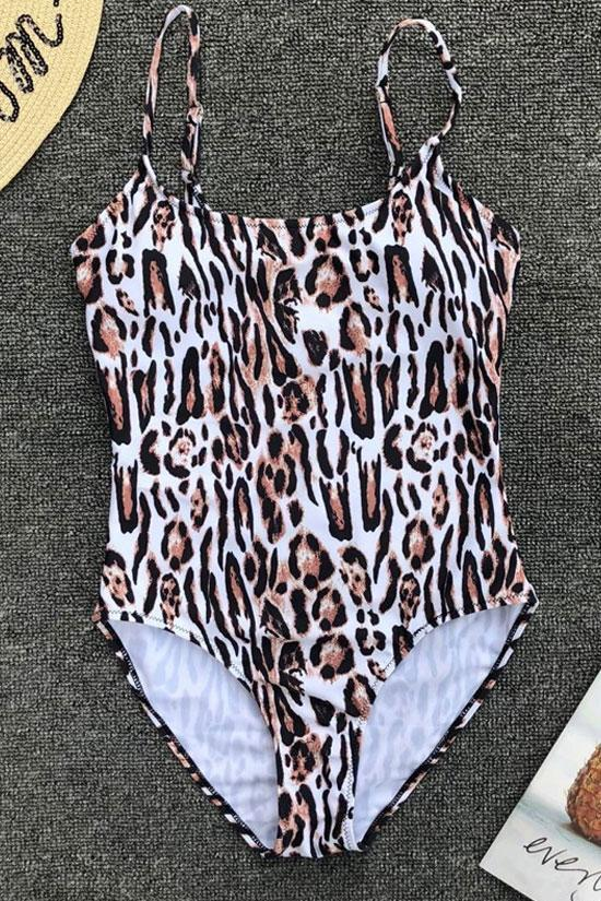 One Piece Sexy Leopard High Leg Scoop Neck Swimsuit SO040