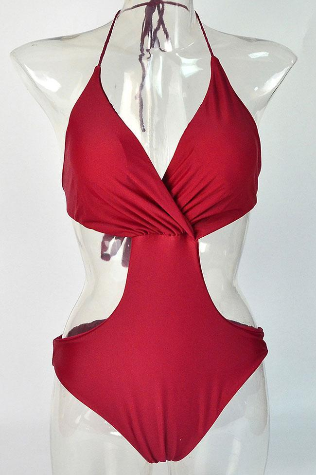 One Piece Low Back Deep V Halter Monokini Swimsuit SO435