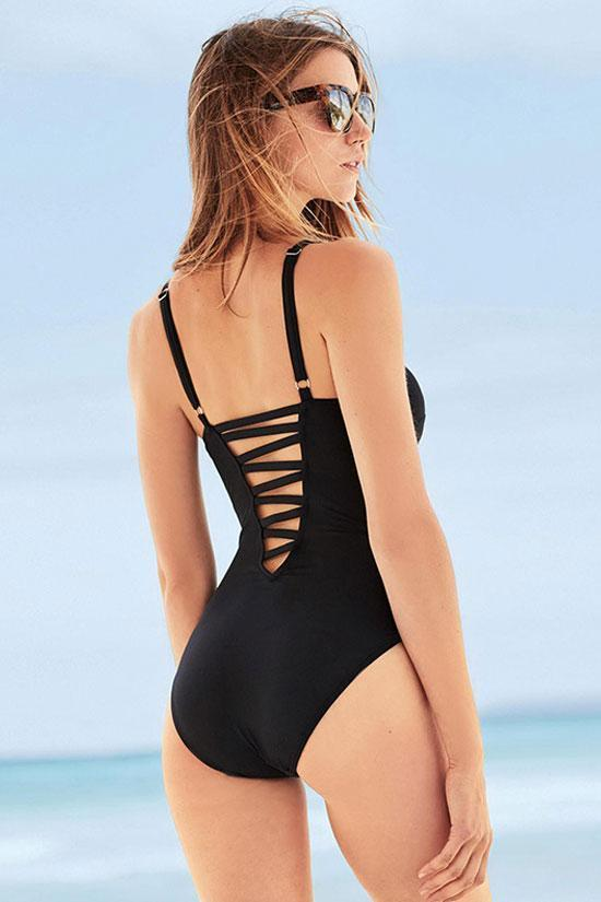 One Piece Solid Strappy Plunged V Neck Swimsuit SO434