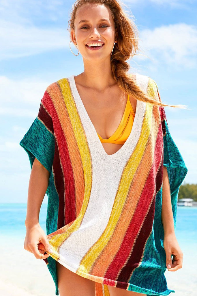 Cover Up Rainbow Striped Batwing Sleeve Knit Tunic BW028