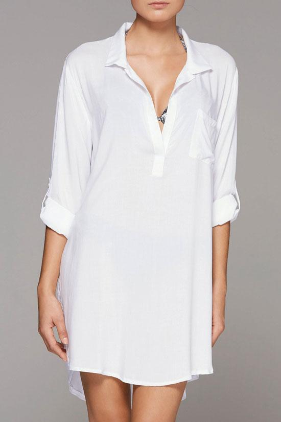 Cover Up Blouse Oversize Split Sides Button-Up Tunic BW026