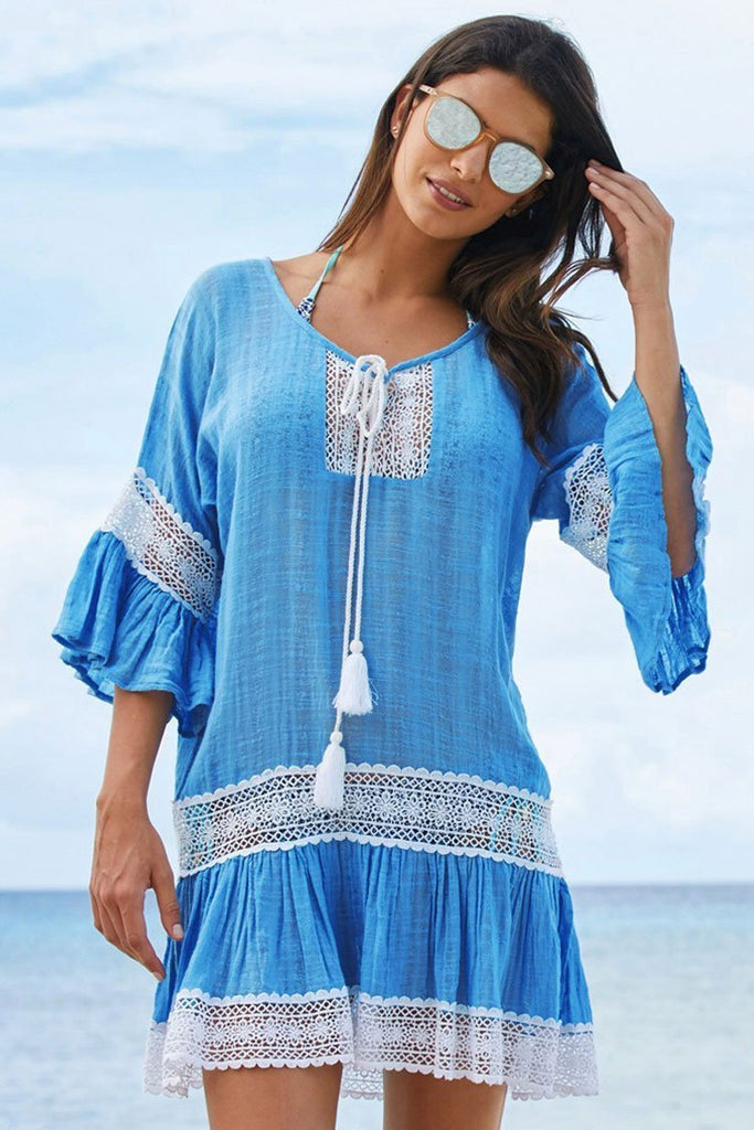 Bohemian Coverup Dress Flare Sleeve Lace Panel Tunic Beachwear SK0335