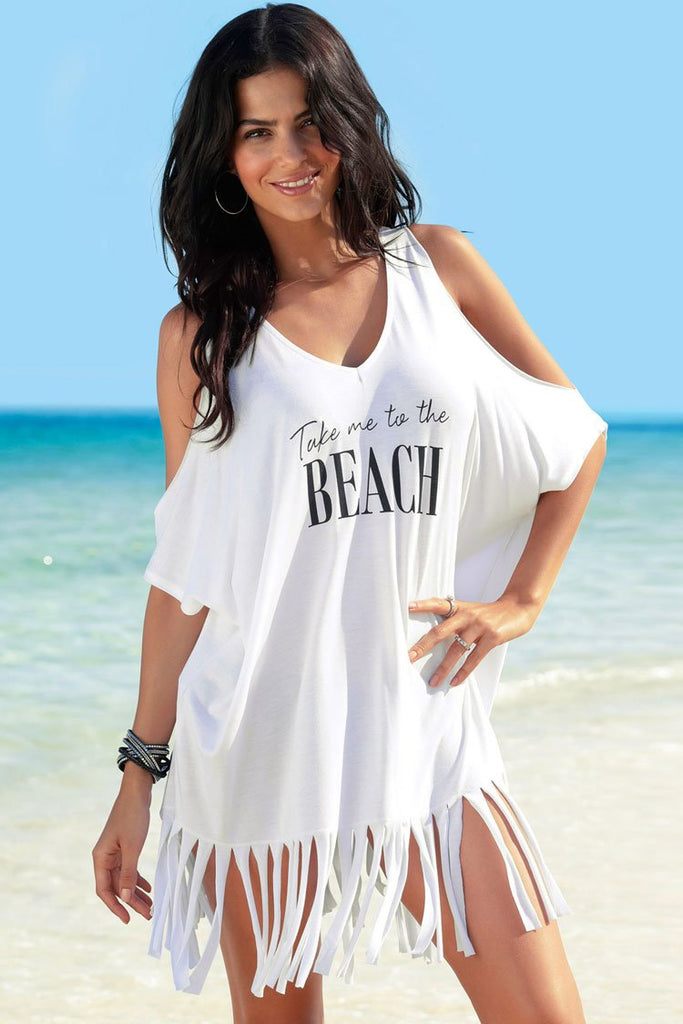 Cover Up Dress Basic Letter Printed Cold Shoulder Fringed BW019