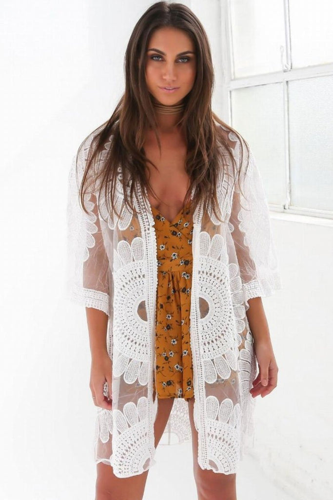 White Beachwear Crochet Sunflower Open Front Sheer Mesh Cover Up SK0333