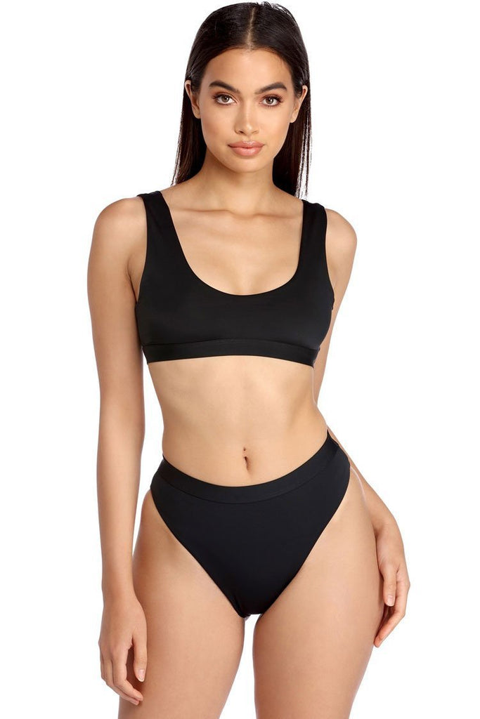 Two Piece Solid High Leg High Waist Crop Bikini Swimsuit SB67