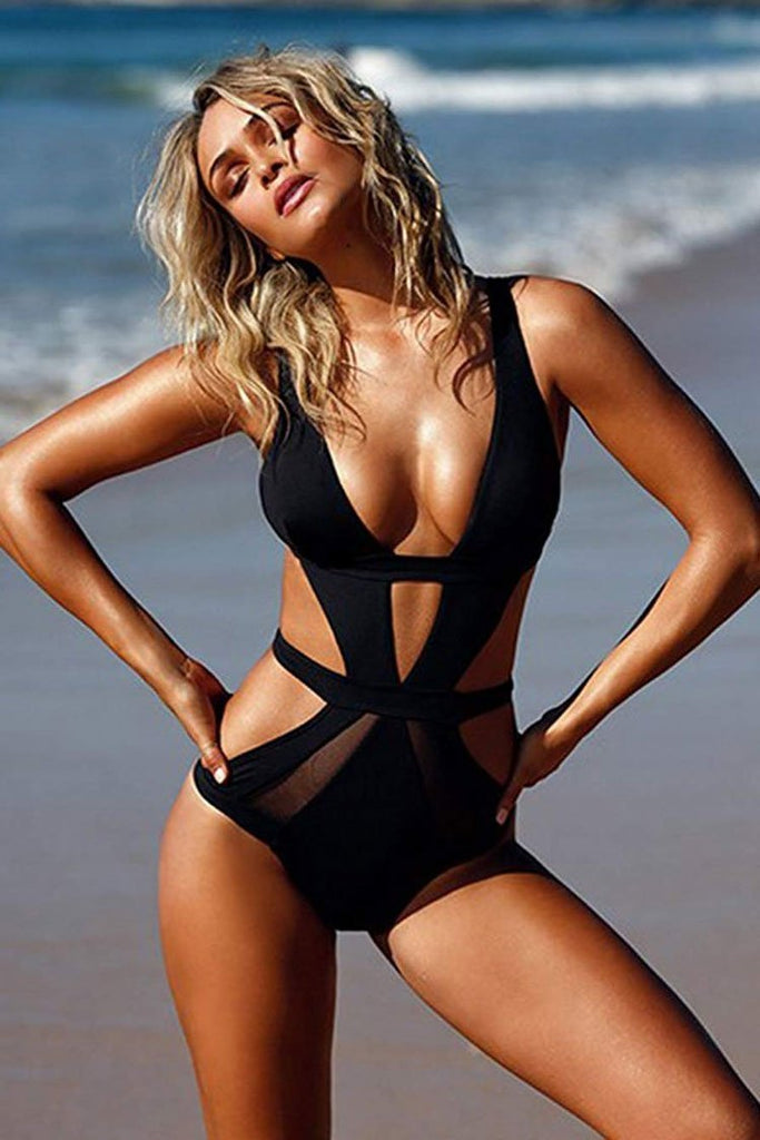 One Piece Low Back Mesh Panel Deep V Bandage Monokini Swimsuit SO089