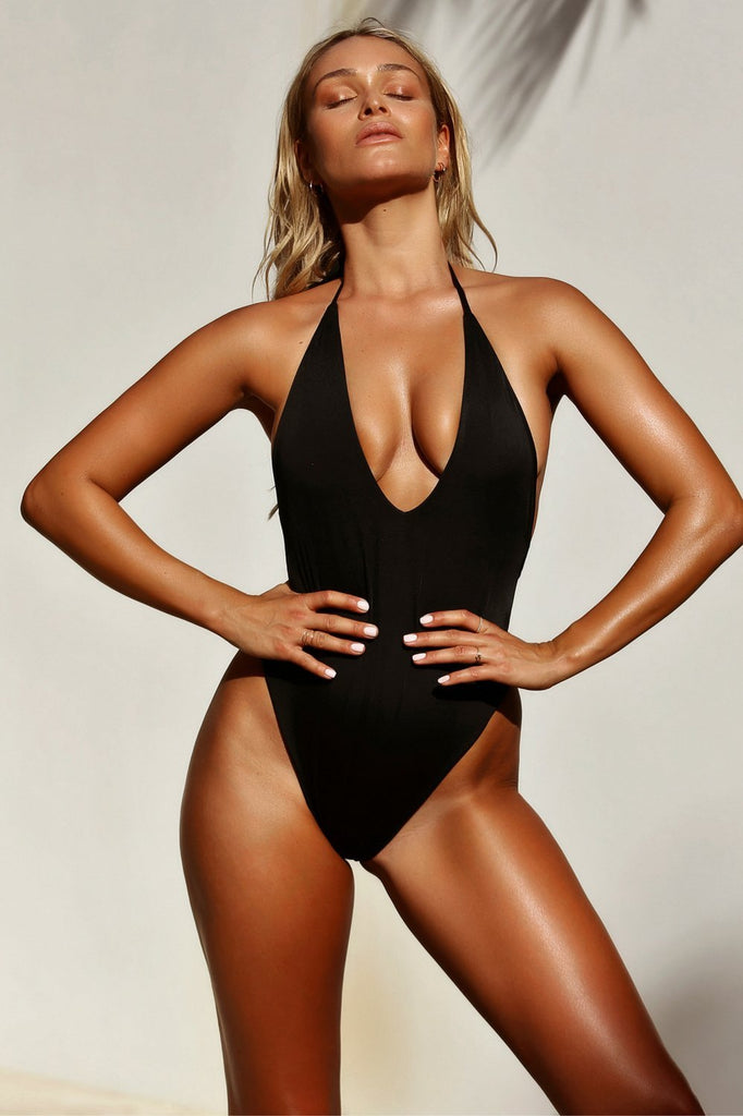 Halter One Piece Swimsuit Backless Solid Color Bathing Suit SW1824