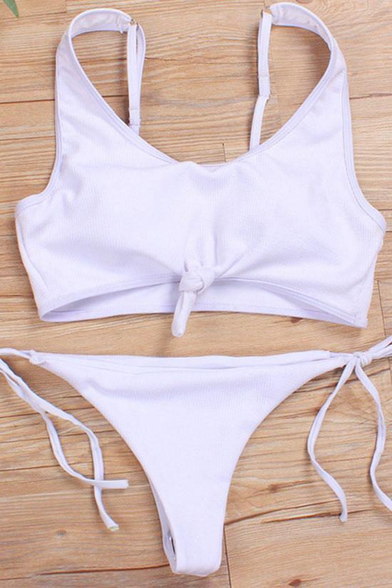 Two Piece Ribbed Knotted Bikini Swimsuit Set B0048