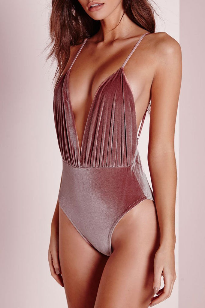 One Piece Velvet V Neck Ruched Bodysuit Swimsuit SO161