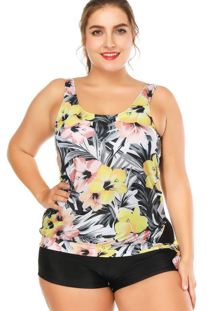Chic Floral Printed Boyshorts Plus Size Tankini Swimsuit SK0291