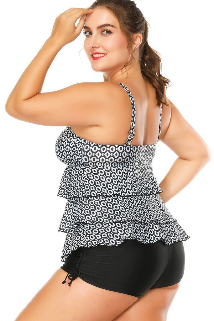 Black Layered Ruffle Babydoll Plus Size Tankini Swimsuit SK0276