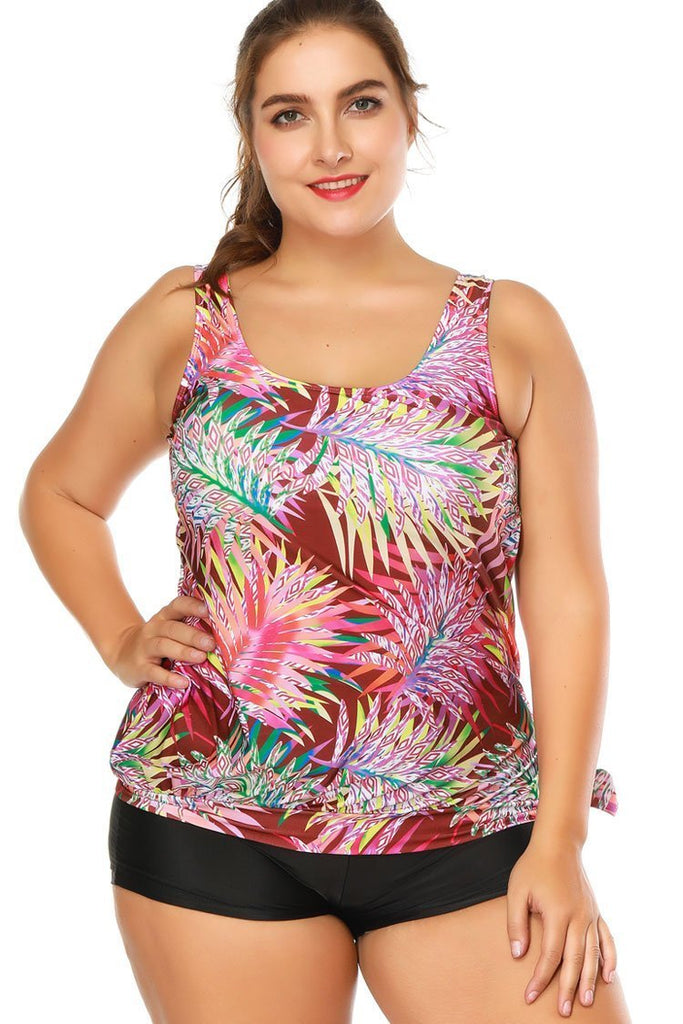 Palm Leaf Printed Tie Knotted Boyshort Plus Size Tankini Swimsuit SK0283