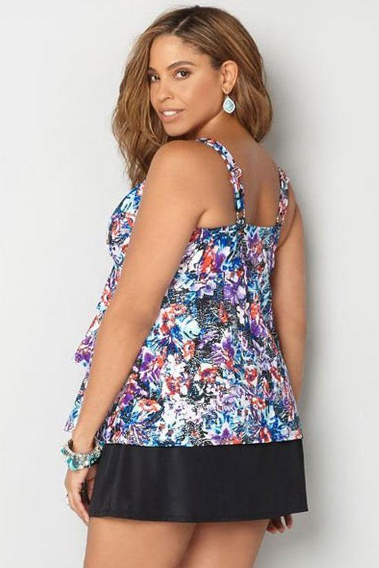 Floral Layered Ruffle Skirted Plus Size Tankini Swimsuit SK0260