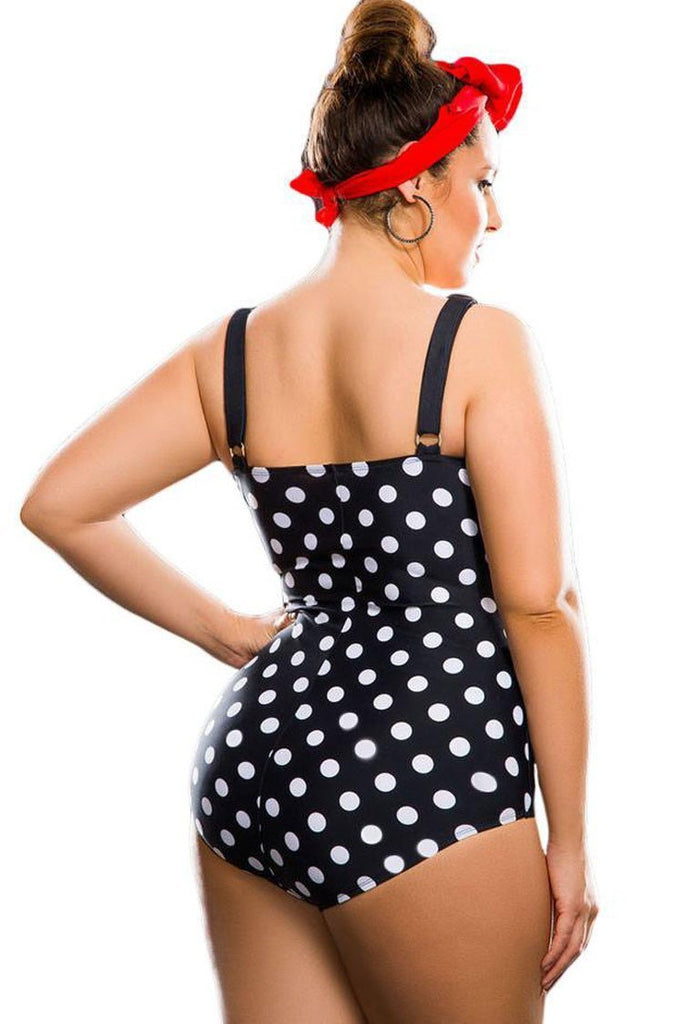 Vintage Polka Dots Ruched Bandeau Plus Size One Piece Swimsuit SK0147