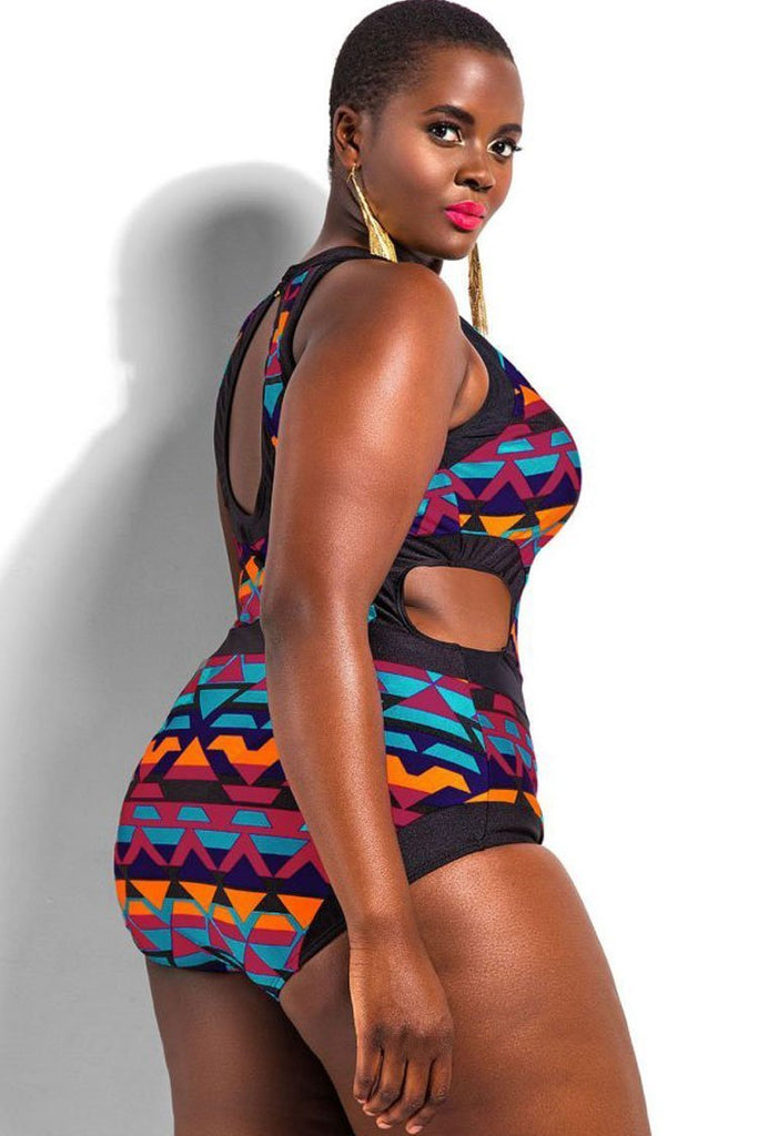 Bohemian Printed Plus Size One Piece Bathing Suit Swimsuit SK0162