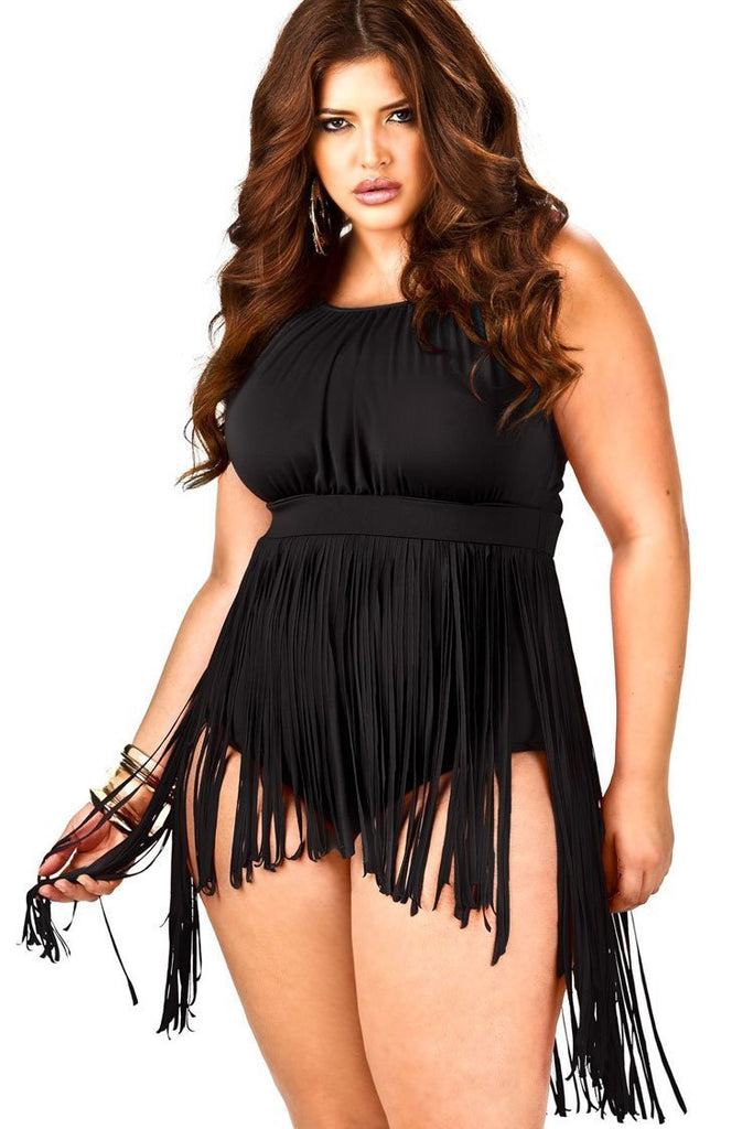 Classic Empire Waisted Fringed One Piece Plus Size Swimsuit SK0120