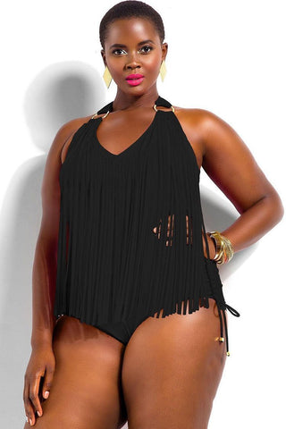 Tassel Front Halter Plus Size One Piece Swimsuit SK0134