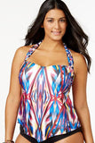 Ethnic Tribal Printed Halter Plus Size Tankini Swimsuit SK0231