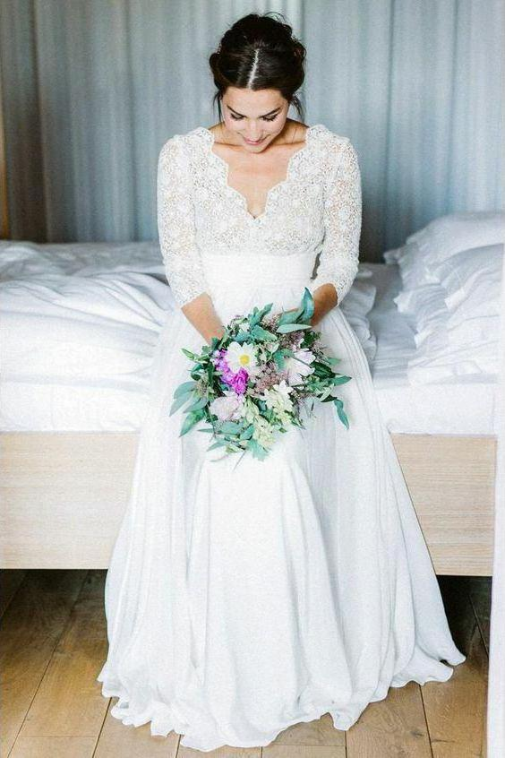 3/4 Sleeve See Through Backless Lace Wedding Gowns, Chiffon Rustic Wedding Dresses PW815
