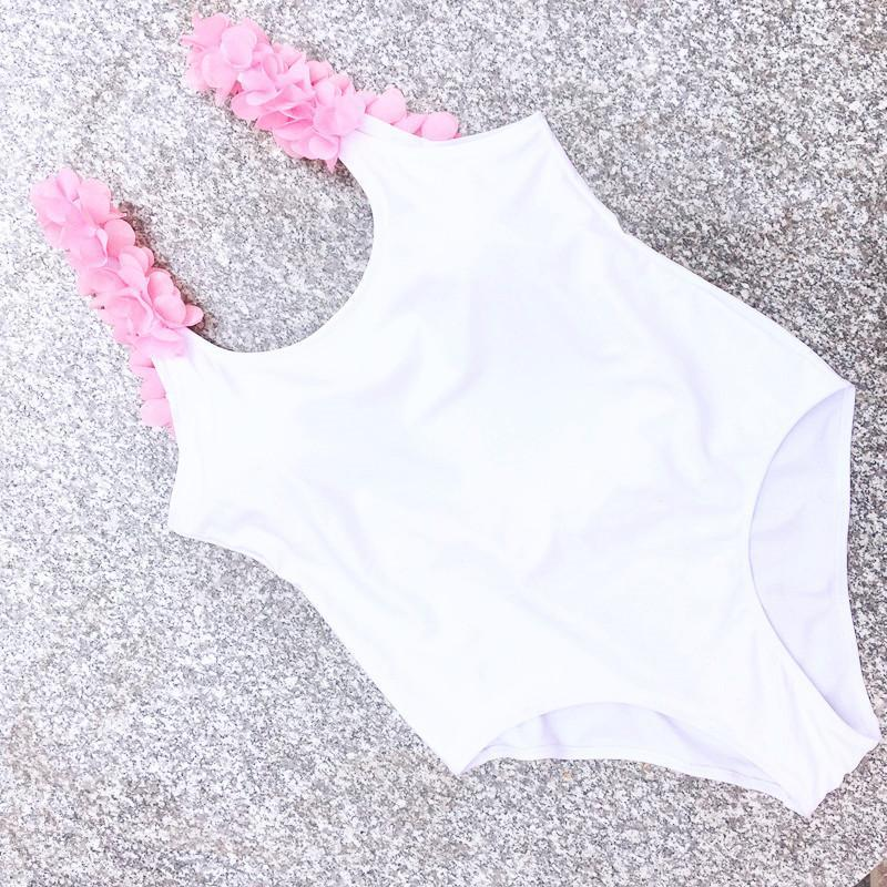 Chic White Scoop Neck With Pink Floral Trim One-piece Swimsuit B0055
