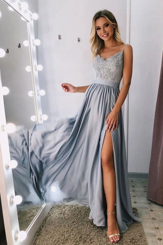 Unique A Line Spaghetti Straps V Neck Appliques Prom Dresses with Slit, Party Dress OM94