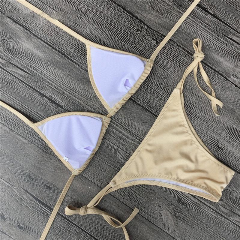 Sexy Metallic Solid Halter Two Piece Bikini Set Swimsuit B0050