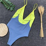 Sexy Plain One Piece Women's Swimwear, Green Spaghetti Straps Swimwear SW926