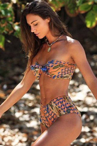 Ethnic Floral Bowknot Bandeau Two Piece Bikini Set Swimsuit B0064
