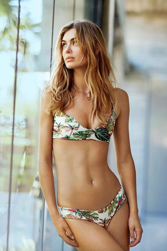 Tropical Palm Leaf V Neck Printed Bikini Swimsuit Set SW9102