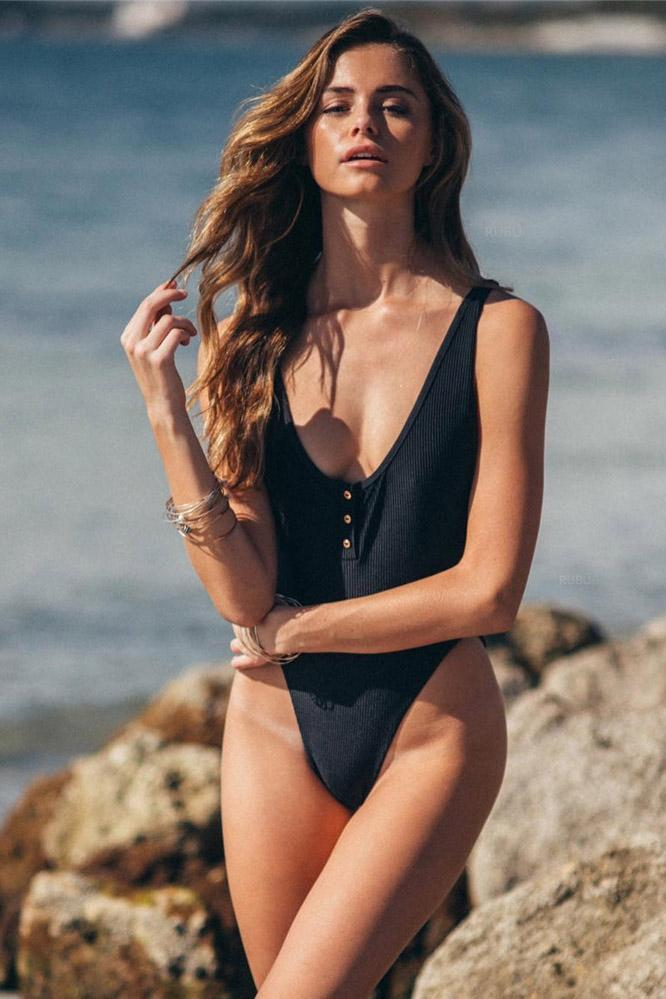 Ribbed Button Up High Rise Cut One Piece Swimsuit B0066