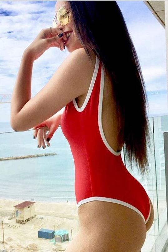 Athletic White Edge Low Back High Leg Red One Piece Swimsuit B0059