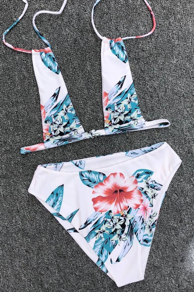 Two Piece Set Triangle Floral Printed Bikini Swimsuit SW931
