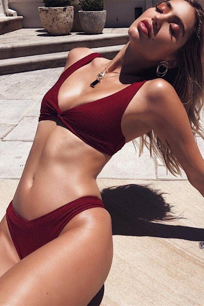 Ribbed High Waisted Knotted Front Two Piece Bikini Swimsuit SW933