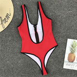 Red Plunge One Piece Swimsuit Zipper Up Front B0019