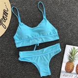 Spaghetti Straps Top With Full Brief Pink/Blue Bikini Set B0021
