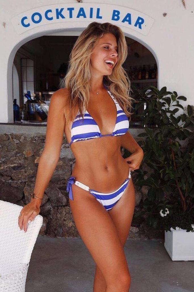 Blue Stripe Top With Tie Side Bottom Triangle Bikini Set B0022