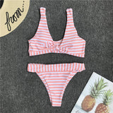 Pink/Blue/Yellow/Green Stripe Knot Two Piece Bikini Set B0023