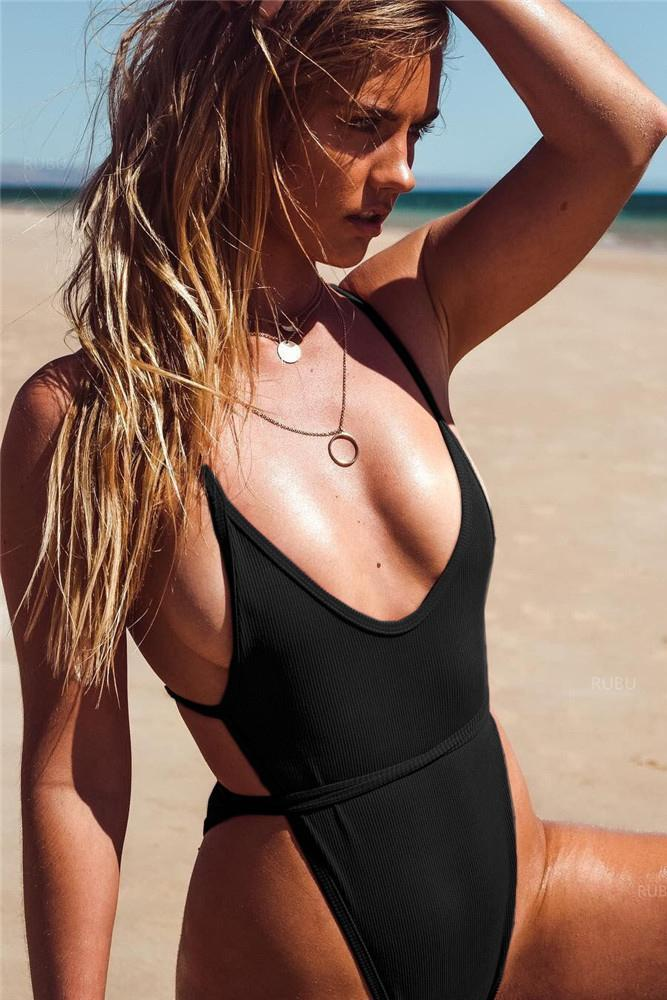Beach Sexy Strappy One Piece Swimsuit Backless Women's Swimwear B0036
