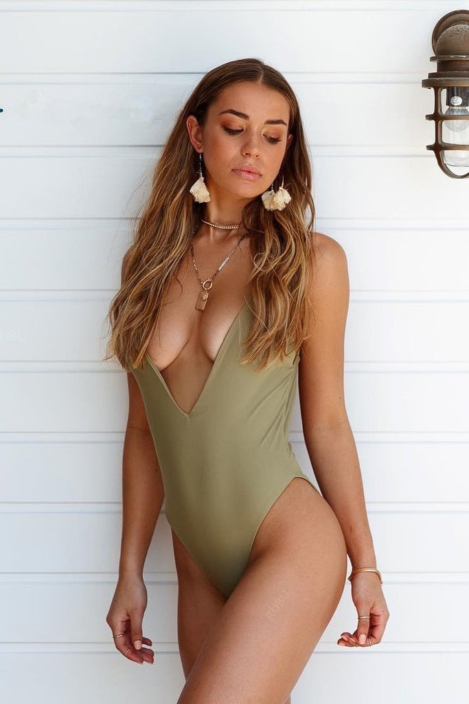 Spaghetti Straps Plunged V Scrunch Low Back One Piece Swimsuit B0057