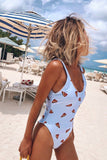 Light Blue Pizza Printed Low Back One Piece Swimsuit B0058
