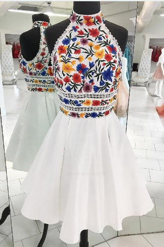 A-Line Luxury Embroidery White Homecoming Dress,Halter Graduation Dresses PW808